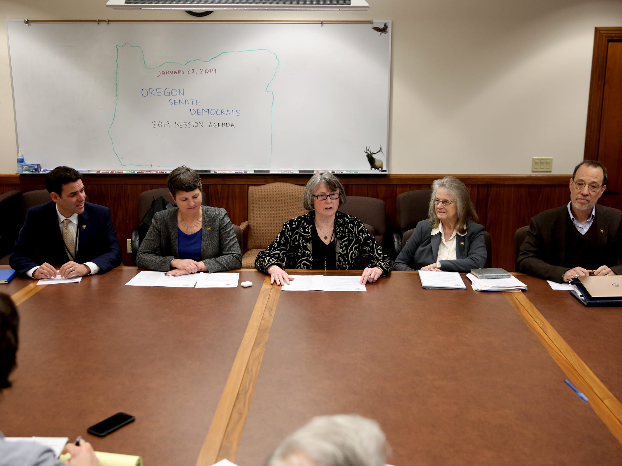A meeting with Senate Democratic leadership, from left, Sen. Rob Wagner, Sen. Elizabeth Steiner Hayward, Sen. Ginny Burdick, Sen. Laurie Monnes Anderson and Sen. Michael Dembrow at the Oregon State Capitol in Salem on the first day of the 2019 legislative session, Tuesday, Jan. 22, 2019.