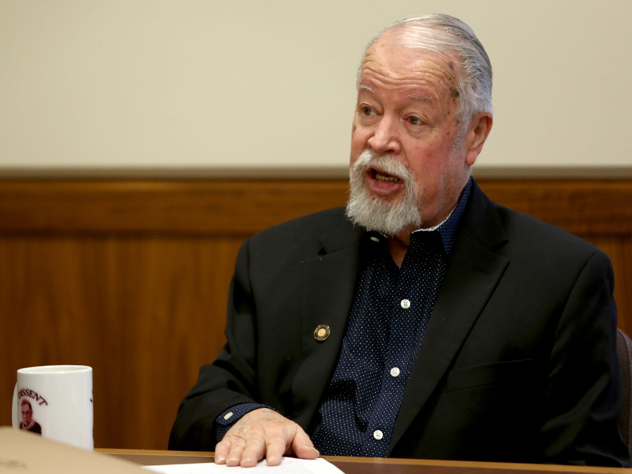 Sen. Chuck Riley, D-Hillsboro, attends a meeting with Senate Democratic leadership at the Oregon State Capitol in Salem on the first day of the 2019 legislative session, Tuesday, Jan. 22, 2019.