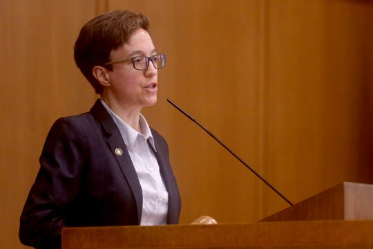 Speak of the House Tina Kotek speaks as the House of Representatives convenes at the Oregon State Capitol in Salem on the first day of the 2019 legislative session, Tuesday, Jan. 22, 2019.