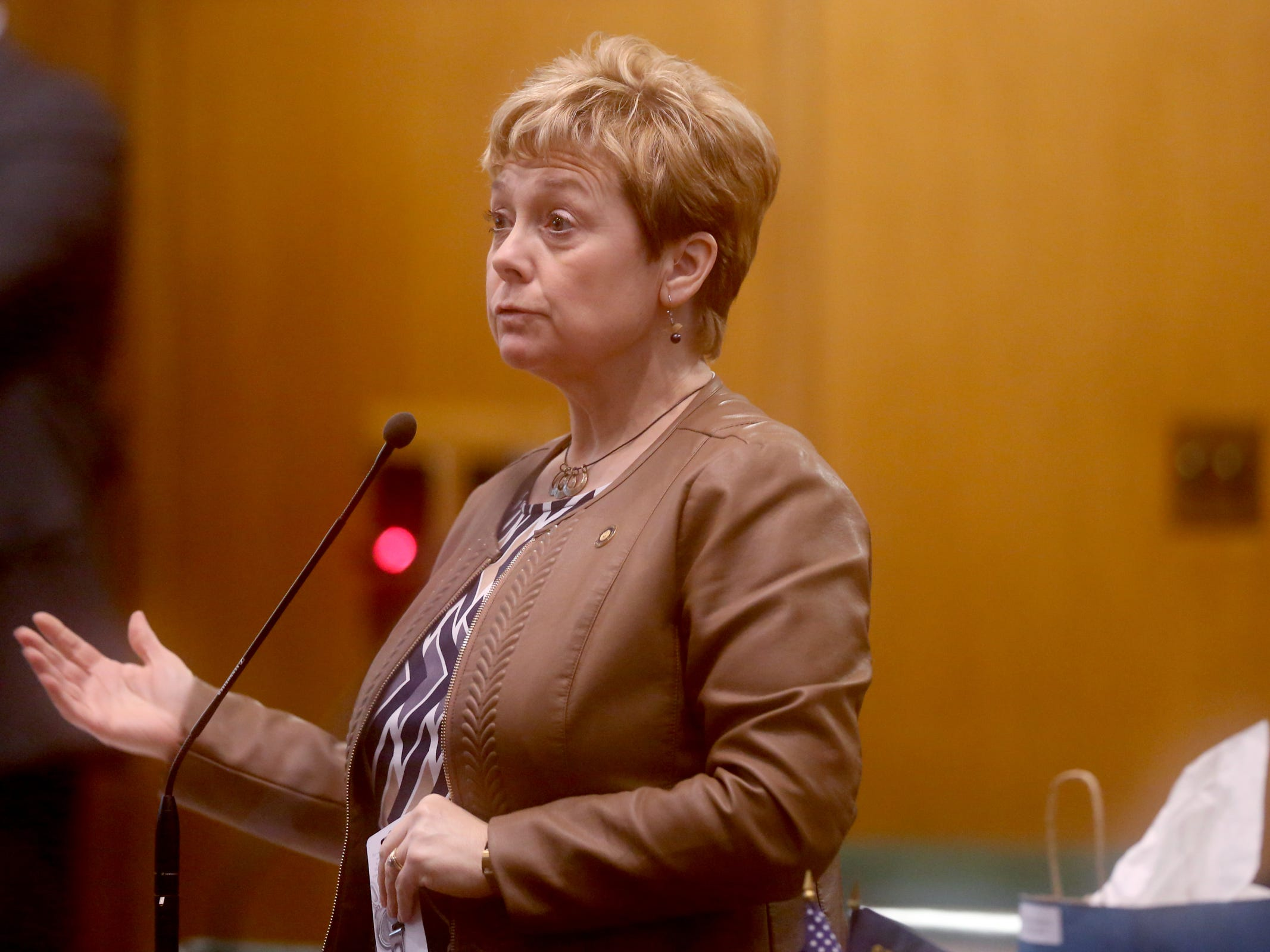 Rep. Sherrie Sprenger, R-Scio, speaks as the House of Representatives convenes at the Oregon State Capitol in Salem on the first day of the 2019 legislative session, Tuesday, Jan. 22, 2019.