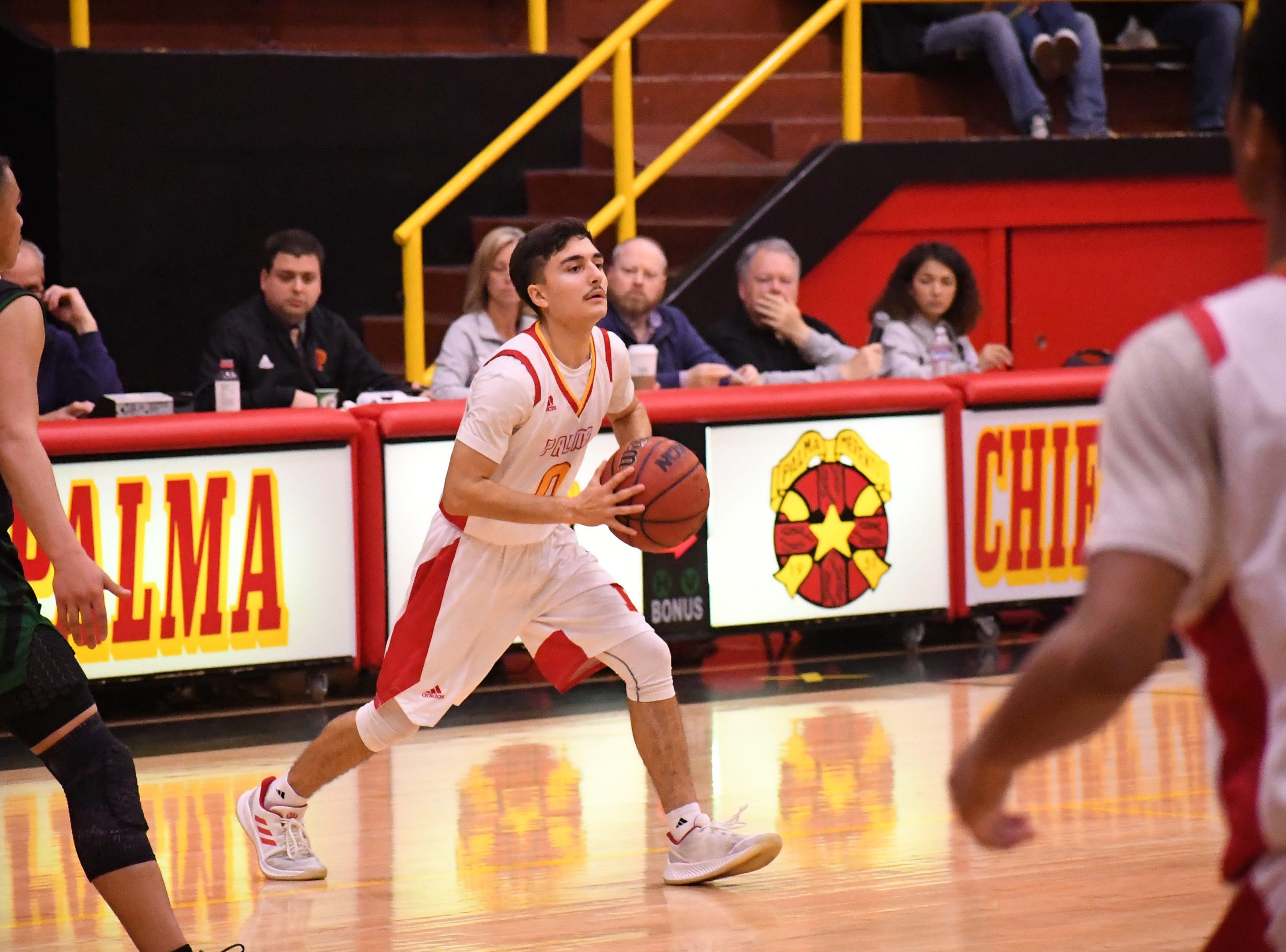 Palma guard AJ Suniga (0) passes to a teammate.