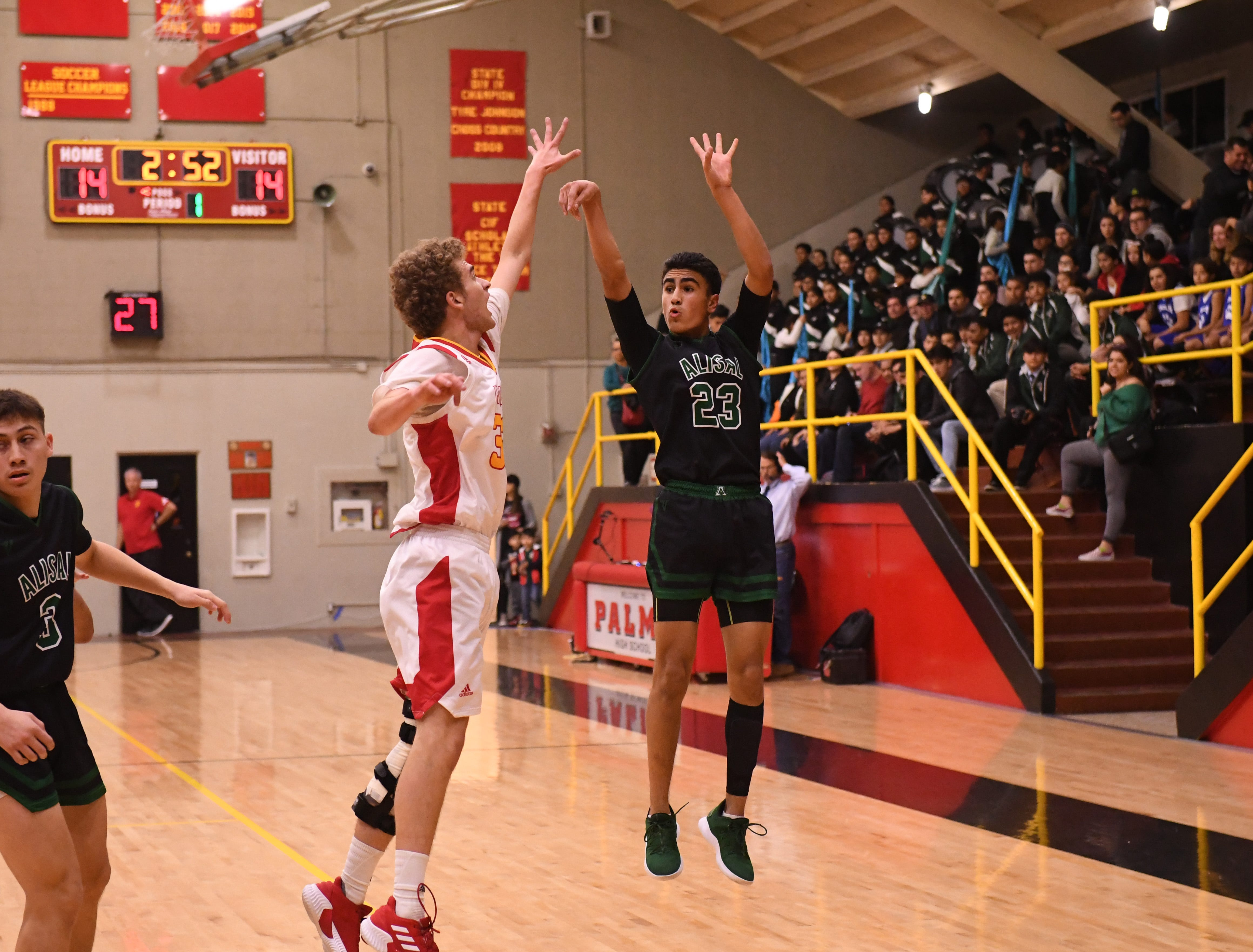 Alisal guard Josue Gil-Silva (23) fires off a 3-pointer in the opening quarter.