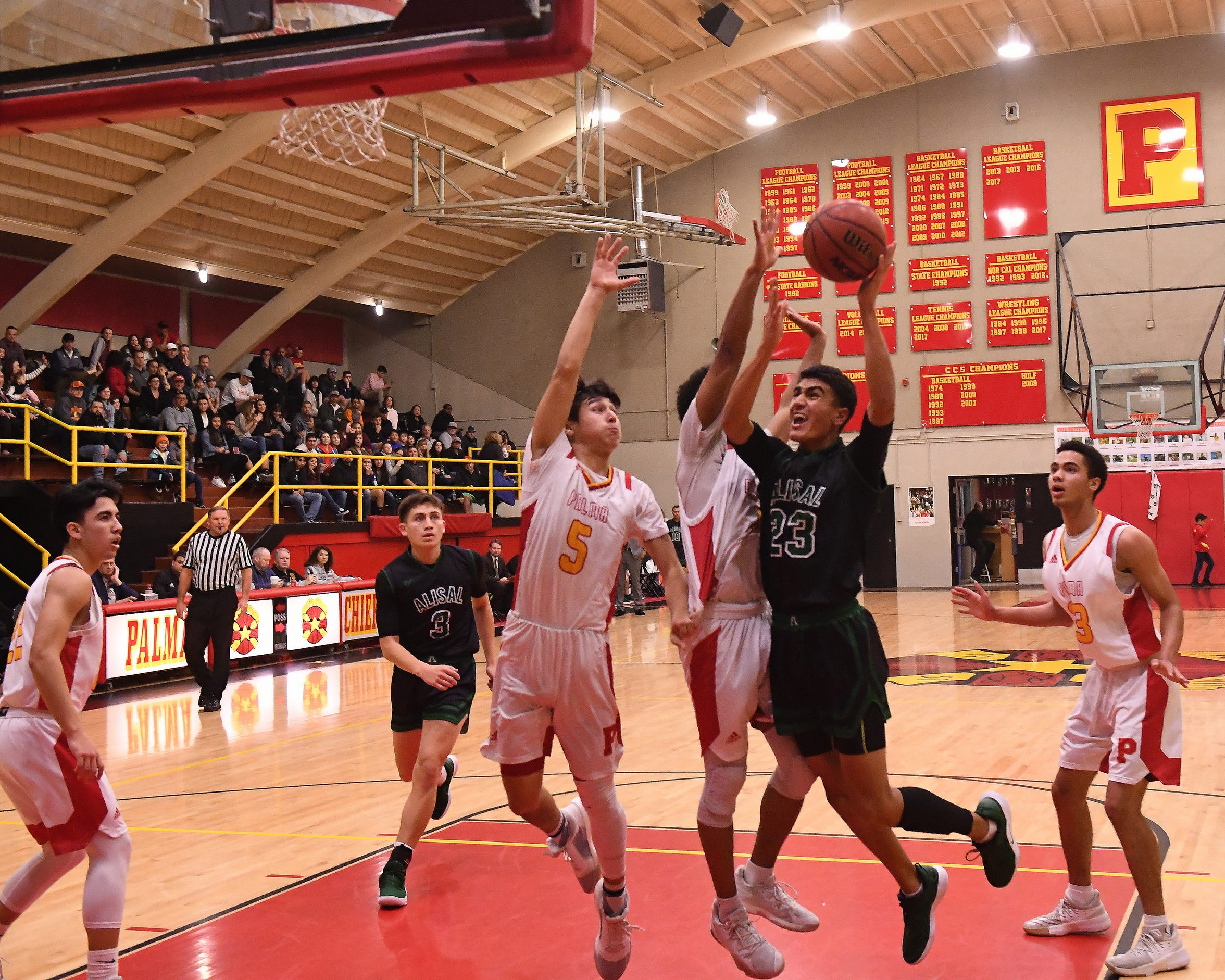 "Alisal guard Josue Gil-Silva (23) earned varsity minutes a freshman but has progressed to be a top player in the area. ""His game has expanded so much,"" his father and coach, Jose, said."