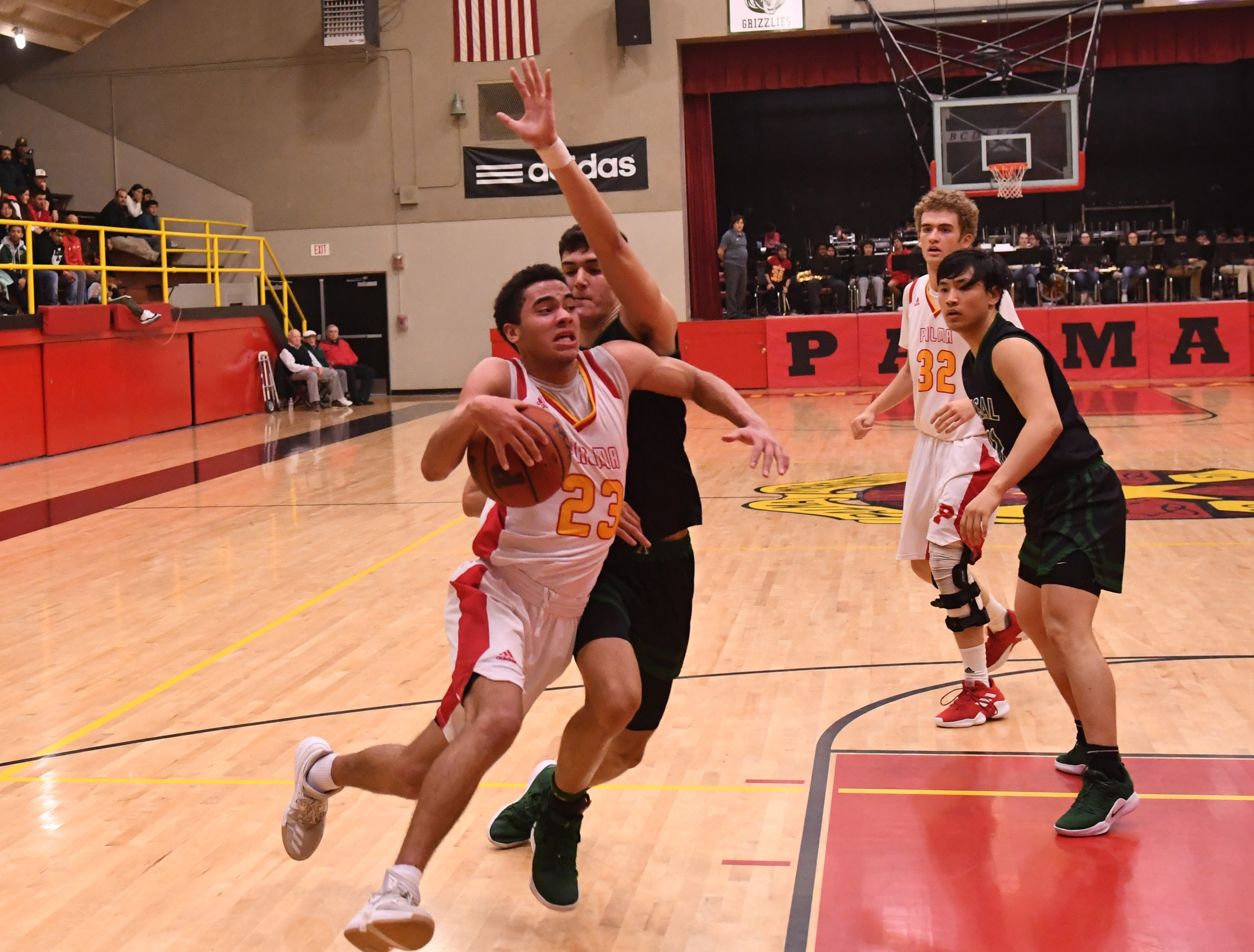 Palma forward Brenden Cannon (23) drives to the paint.