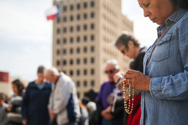 People gather for a prayer rally Tuesday, Jan. 22, 2019, at the Tom Green County Courthouse. The pro-life event was set on the 46th anniversary of the Supreme Court ruling on Roe v. Wade.