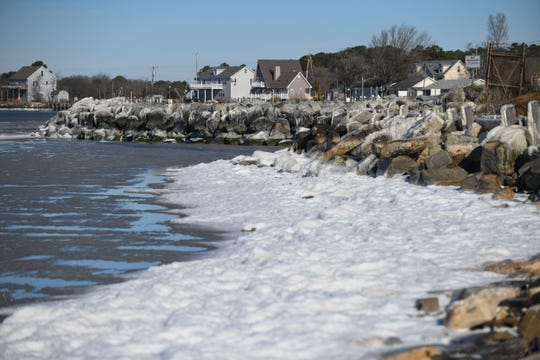 A frozen Chesapeake Bay on Deal Island, Md. on Tuesday, Jan. 22, 2019.
