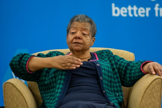 Elizabeth Eckford, one of the Little Rock Nine who integrated Central High School in 1957 in the face of threats, speaks in Shreveport on Tuesday, Jan. 22, 2019.
