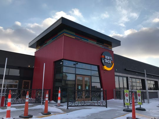 The exterior of Vinyl Taco, the new restaurant opening in the old Borrowed Bucks location near Sioux Falls' Western Mall.