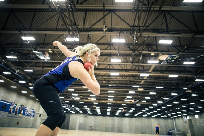 Dell Rapids native Mikaela Stofferahn has turned her entire focus onto throwing shot put and the discus at Dakota Wesleyan.