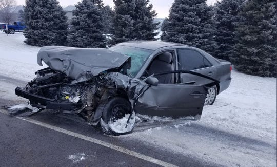 Three people were seriously injured in a car crash in eastern Sioux Falls on Tuesday, Jan. 22, 2019.