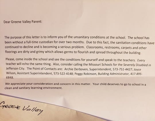 An anonymous letter was sent to parents of students attending the Greene Valley State School.