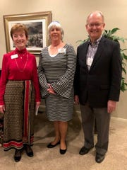 The St George Interfaith Council installed new leaders for 2019 to 2021 during a dinner event on Monday. Pictured are the new vice president, Carole Drake of the St George Catholic Church; the new president, Rabbi Helene Ainbinder of Beit Chaverim; and the new secretary, Tim Martin of The Church of Jesus Christ of Latter-day Saints.