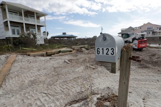 A mailbox stands on the beach of Port St. Joe without a home, Friday, Jan. 18, 2019. The beachfront townhomes were turned to rubble when Hurricane Michael struck the panhandle Oct. 10, 2018.