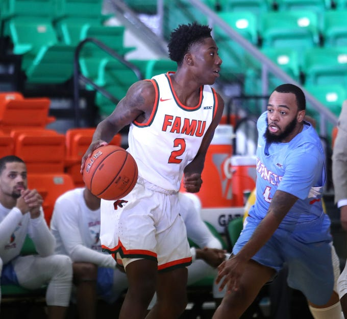 FAMU guard Kamron Reaves scored 18 points in the 60-47 win over Delaware State on Monday, Jan. 21 at the Al Lawson Multipurpose Center.