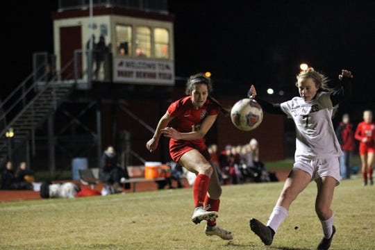 Leon senior Liney Brantley takes a shot, but Florida High's girls soccer team beat Leon 3-2 on Jan. 21, 2019.