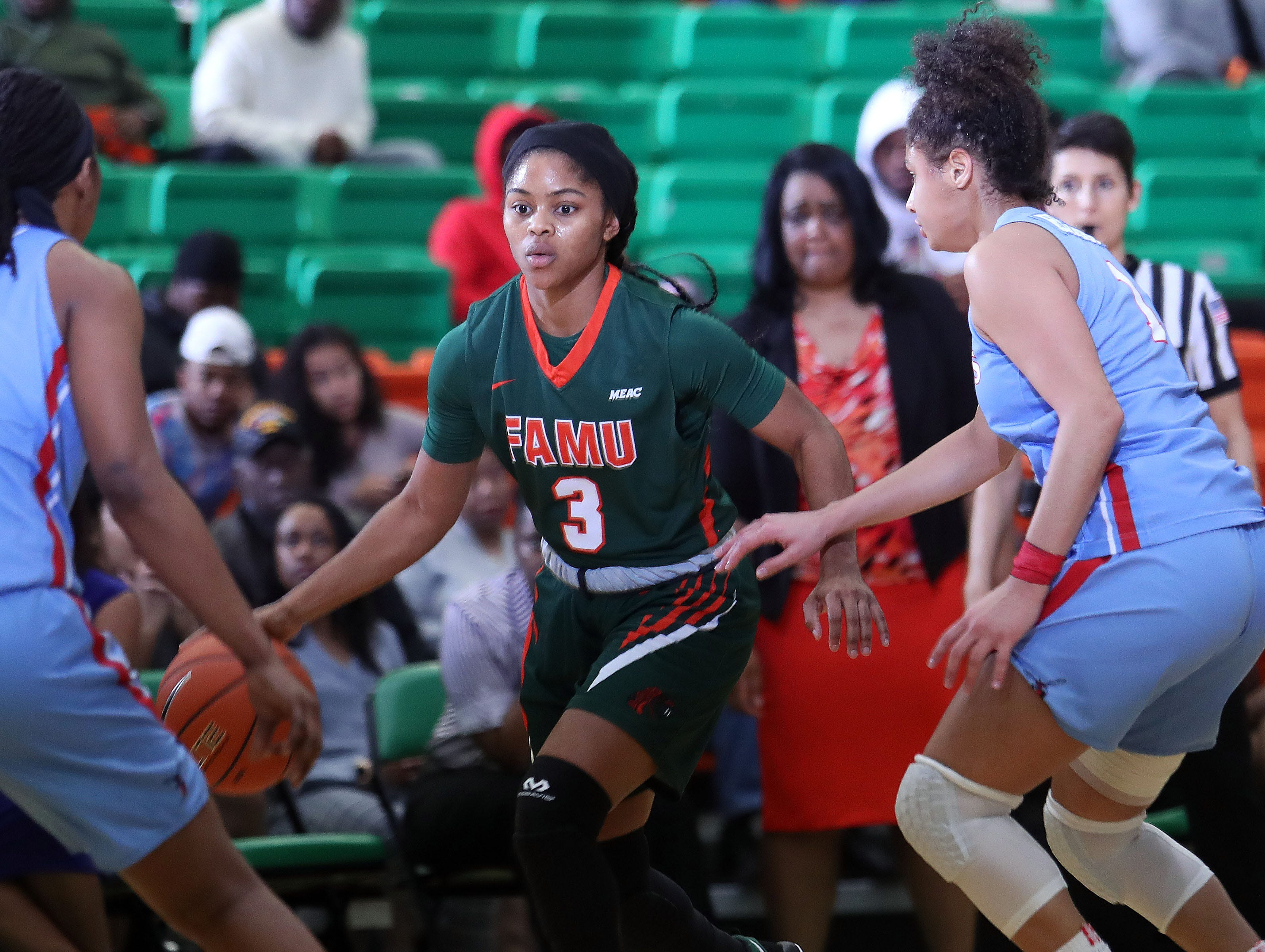 FAMU guard Candice Williams scored 9 points in the win over Delaware State on Jan. 21 at the Al Lawson Multipurpose Center.