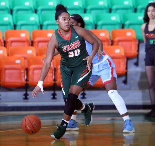 FAMU's Jasmine Ballew had a team-high 14 points in the 57-52 win over Delaware State on Jan. 21 at the Al Lawson Multipurpose Center.