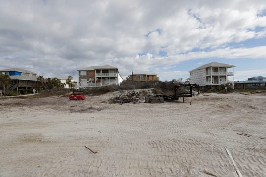 A pile of rubble sits on the beach in Port St. Joe, Friday, Jan. 18, 2019. Homes that once lined the beach were ripped apart by Hurricane Michael on Oct. 10, 2018.