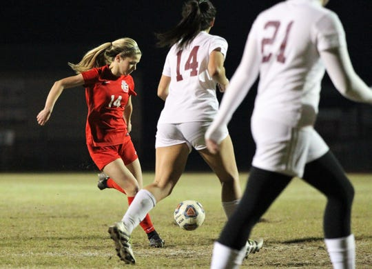 Leon senior Emma McGibany takes a shot, but Florida High's girls soccer team beat Leon 3-2 on Jan. 21, 2019.