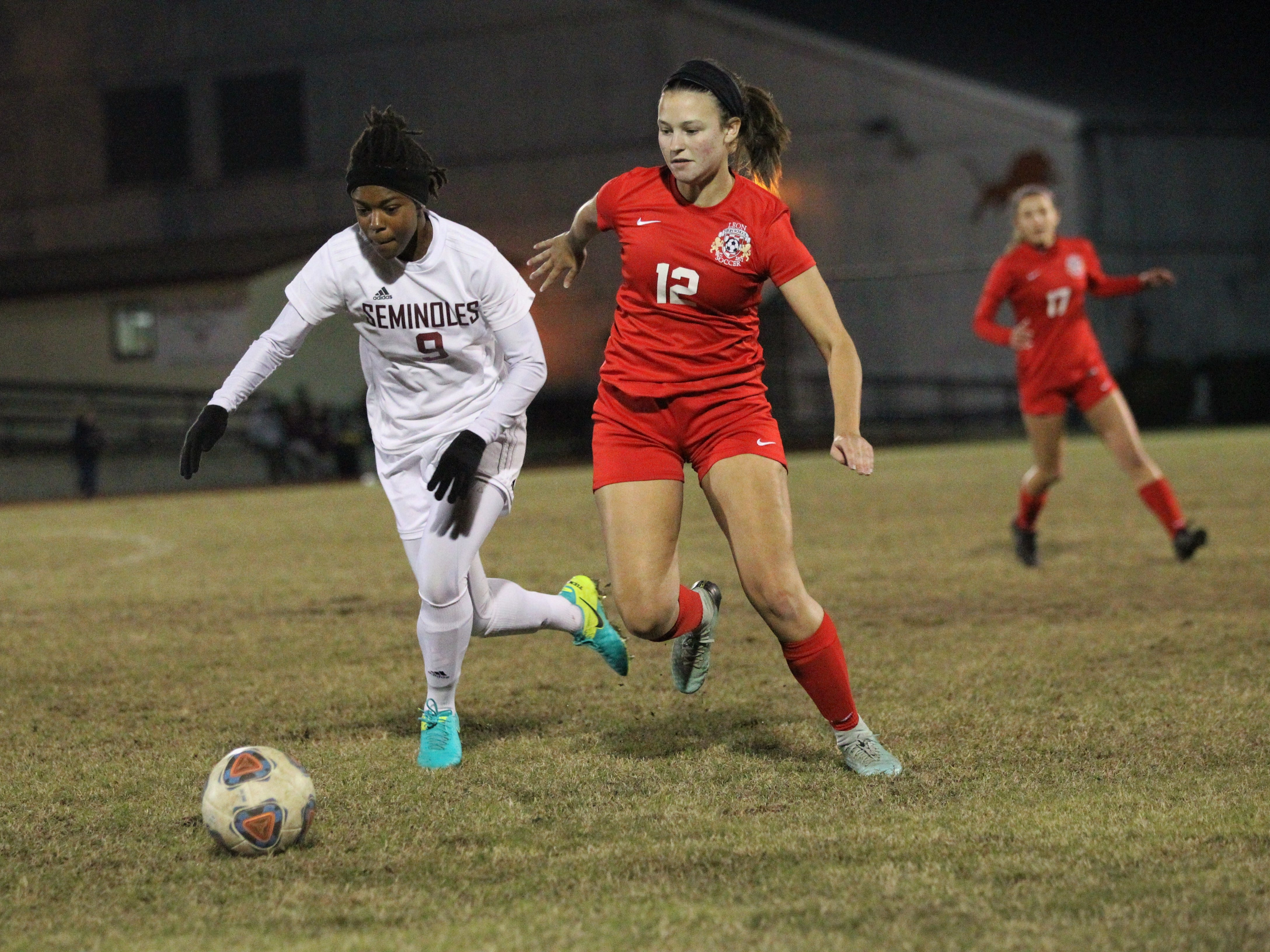 Florida High junior Janae Scott fights for possession against Leon junior Addison Dudley during the Seminoles' 3-2 win at Leon on Jan. 21, 2019. Scott scored two goals in the win.