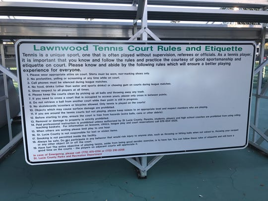 More than a dozen public tennis courts across the Treasure Coast are free to use, including Lawnwood Tennis Center in Fort Pierce.