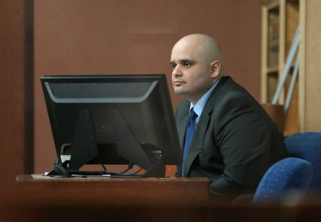 """Javier Gonzalez, a reputed member of the Kinfolk Motorcycle Club, testifies Tuesday, Jan. 22, 2019, at his murder trial. He testified that he feared for his life when he fatally shot El Paso Bandidos chapter leader Juan """"Compa"""" Martinez Jr. during a fight at Mulligan's Chopped Hog bar in East El Paso on July 30, 2017."""