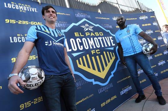 El Paso Locomotive forward Omar Salgado and defender Chiro N'toko model the jerseys for the inaugural season. The jerseys were revealed at Southwest University Park.