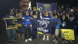 About 100 fans gathered at CLU in Thousand Oaks on Sunday night to meet the Los Angeles Rams' buses returning from the NFC Championship Game win.
