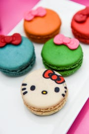 Items on sale at the Hello Kitty truck include a box of five macarons.