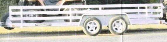 Sometime between the evening of Sept. 30, 2018 and the morning of Oct. 1, 2018, someone entered private property in the town of Rib Mountain, and removed a 2006 Aluma Ltd. all-aluminum trailer (as pictured here), with a tandem axle. The trailer has alloy wheels, with aluminum fenders over the wheels, and is a low boy-type trailer. The trailer has an A-frame-type tongue. The dimensions of the trailer are approximately 5 feet wide by 14 feet long.