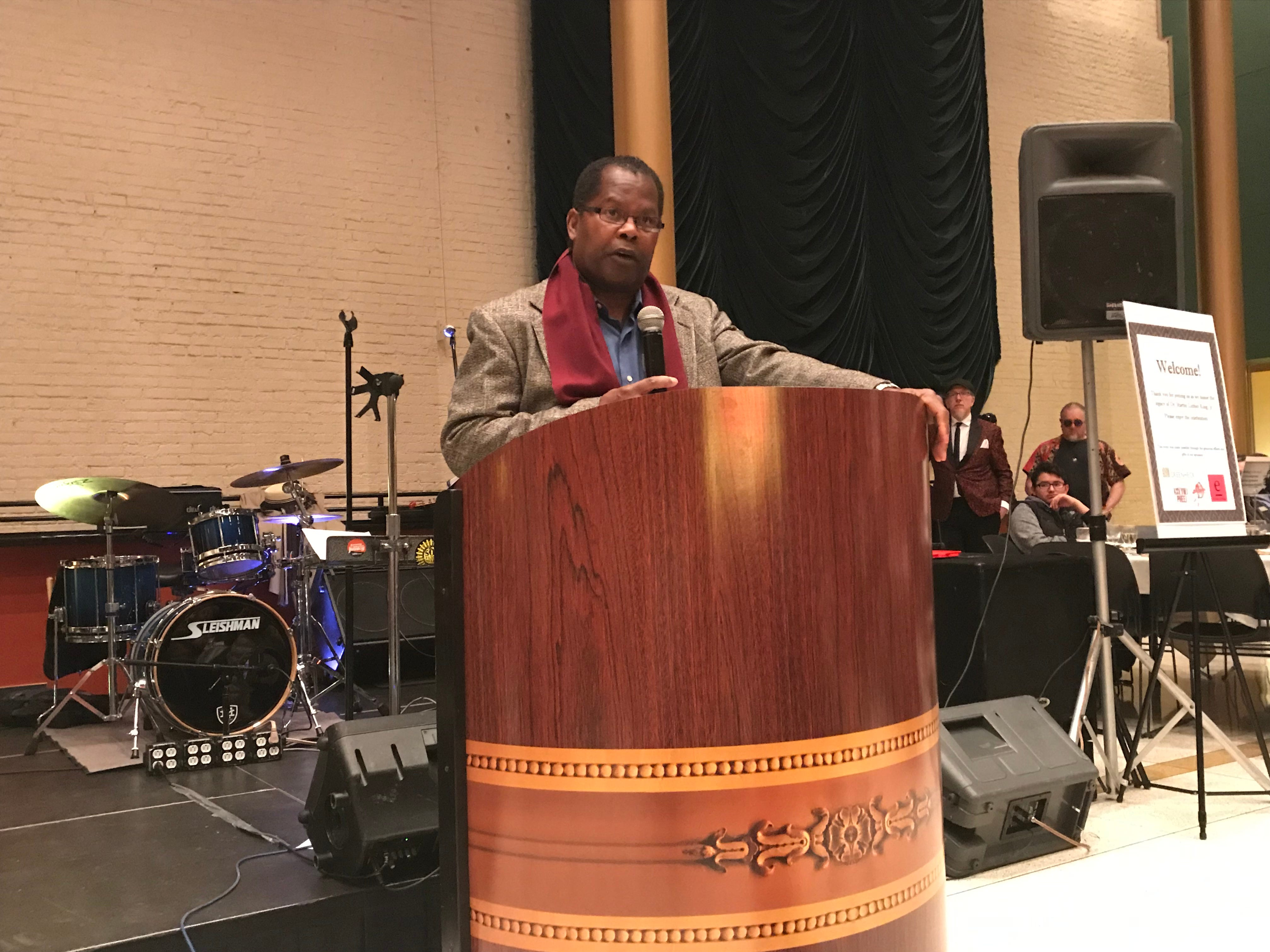 Darryl Mayfield speaks at the MLK Day celebration at the Grand Theater in Wausau.