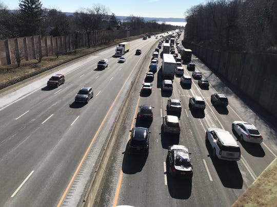 A truck spilled its load on the Gov. Mario M. Cuomo Bridge which is causing miles of delays into Rockland County as seen from Nyack on Jan. 22, 2019.