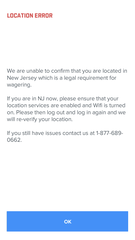 The targeting of mobile phone locations  is key to the sports app industry. Wagers can only be placed by those physically in New Jersey. This error message popped up when the phone was 10 feet from the New Jersey line on Route 304 in Pearl River.