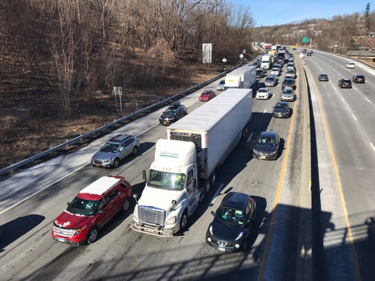 A truck spilled its load on the Gov. Mario M. Cuomo Bridge and is causing miles of delays into Rockland County as seen from Nyack on Jan. 22, 2019.