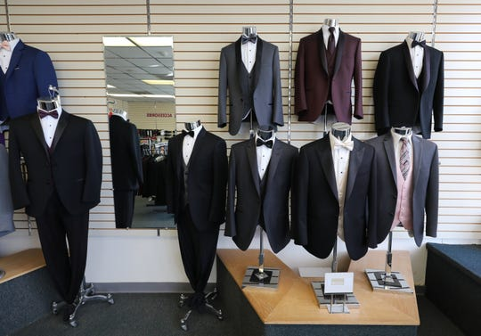 Some of the tuxedos on display at Michael's Tuxedos in Nanuet, Jan. 22, 2019.