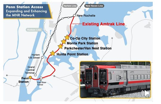 Map shows the planned Penn Station Access plan that will allow some Metro-North New Haven Line trains to go to Penn Station, via Amtrak tracks. The plan includes four new train stations in the Bronx.
