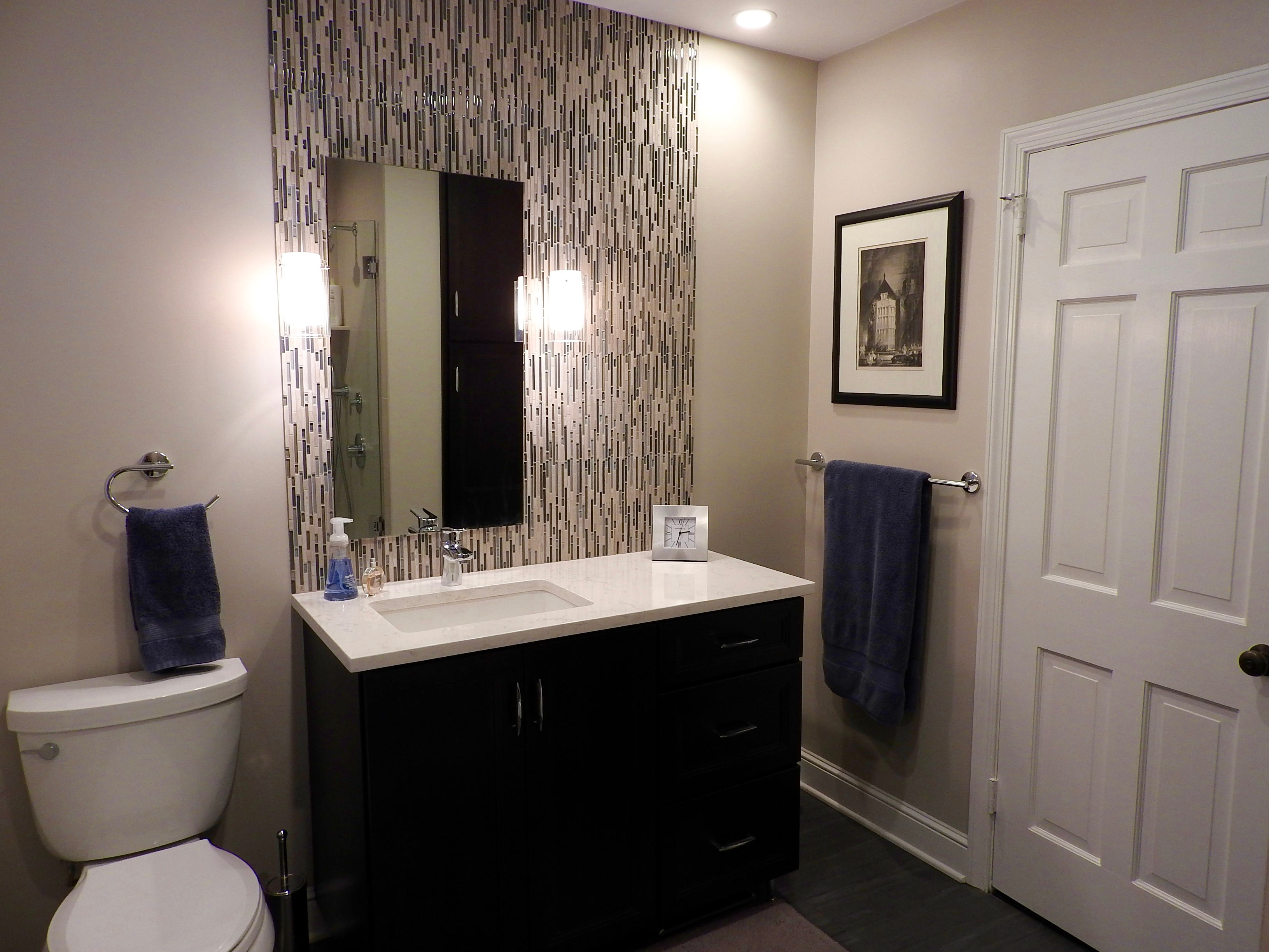 All the bathrooms at 103 Edgewood Road in Alapocas are updated in contemporary style; many were enlarged during renovation.