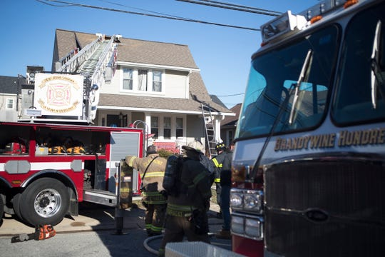 Multiple fire companies work the scene of a house fire on Seminole Drive in Claymont Tuesday afternoon. No injuries were sustained from the fire.