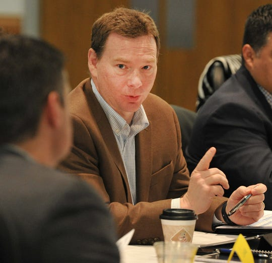 Wichita Falls City Manager Darron Leiker spoke during city planning meeting held at the MPEC Tuesday morning.