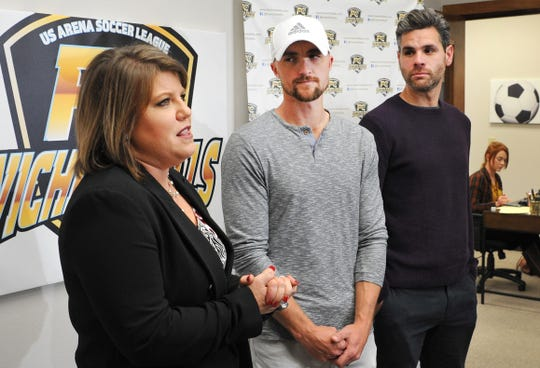 Professional Arena Soccer Team, FC Wichita Falls Owner, Stephanie Tucker, left, introduced the team's new Head Coach Brandon Swartzendruber, center, and Volunteer Assistant Coach, Marcelo Campolino during a media event held Tuesday afternoon.