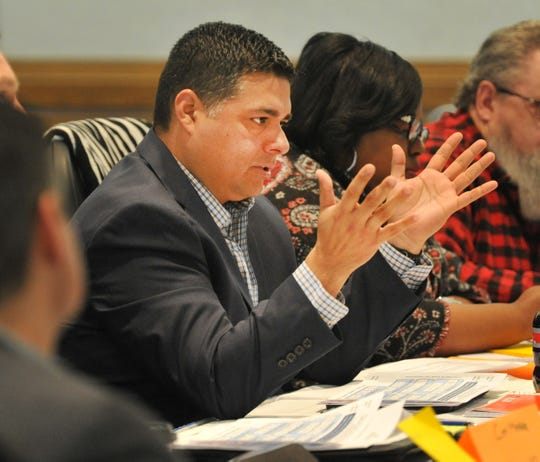 Wichita Falls Mayor Stephen Santellana spoke during city planning meeting held at the MPEC Tuesday morning.