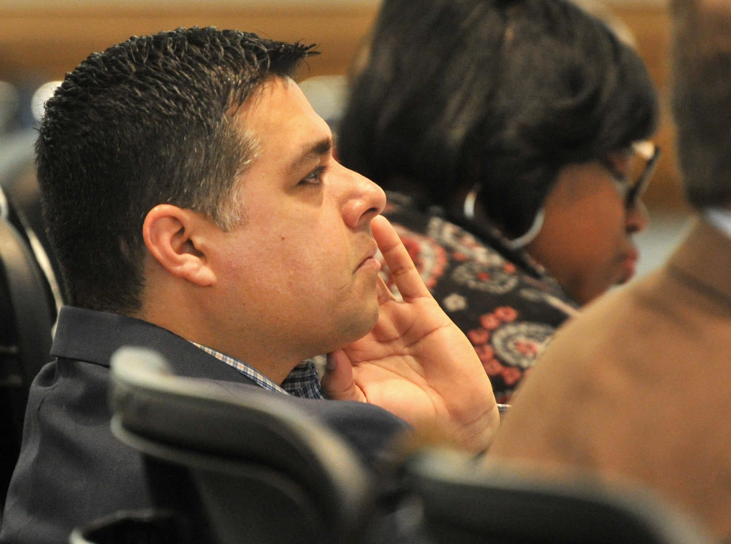 Wichita Falls Mayor, Stephen Santellana listened during a city planning meeting held at the MPEC, Tuesday morning.