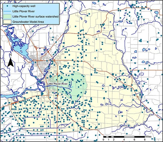 The Wisconsin Geological and Natural History Survey studied the role of high-capacity wells on water flow in the Little Plover River watershed.