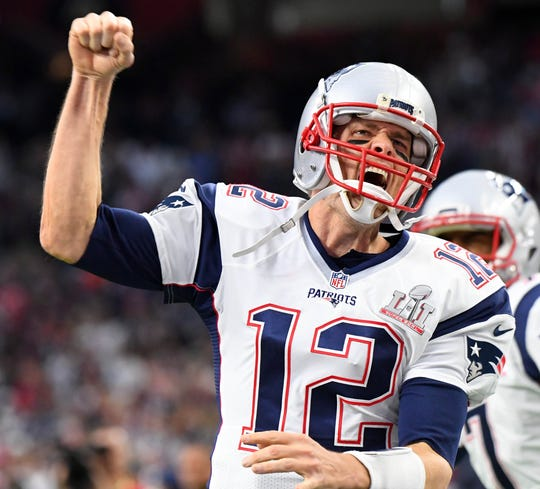 Tom Brady reacts during the Patriots' win over the Falcons in Super Bowl LI.