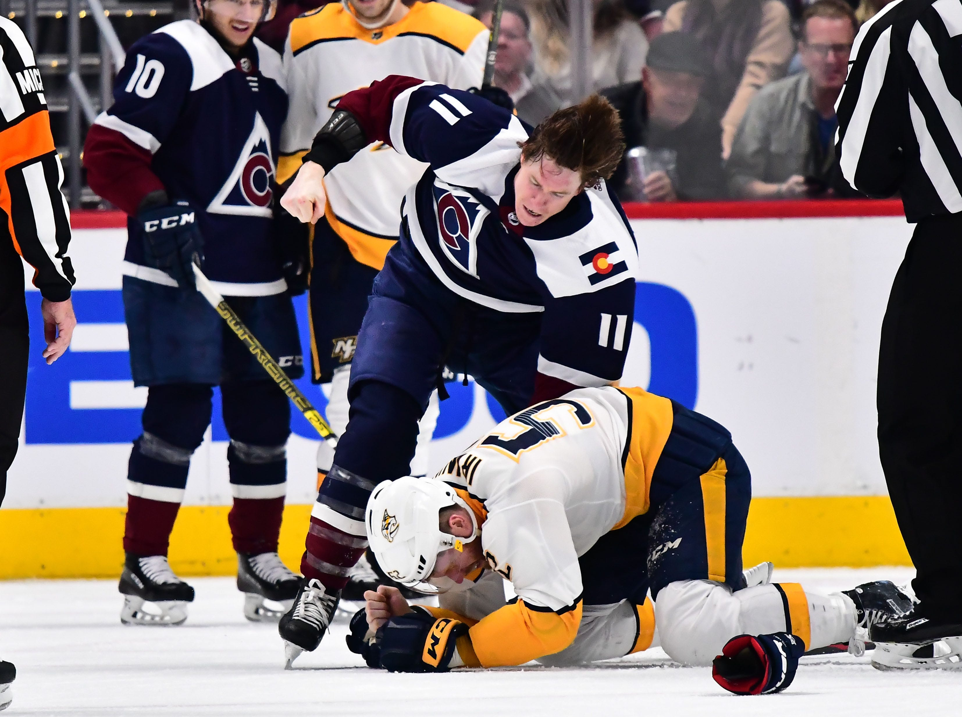Jan. 21: Colorado Avalanche's Matt Calvert vs. Nashville Predators' Matt Irwin.
