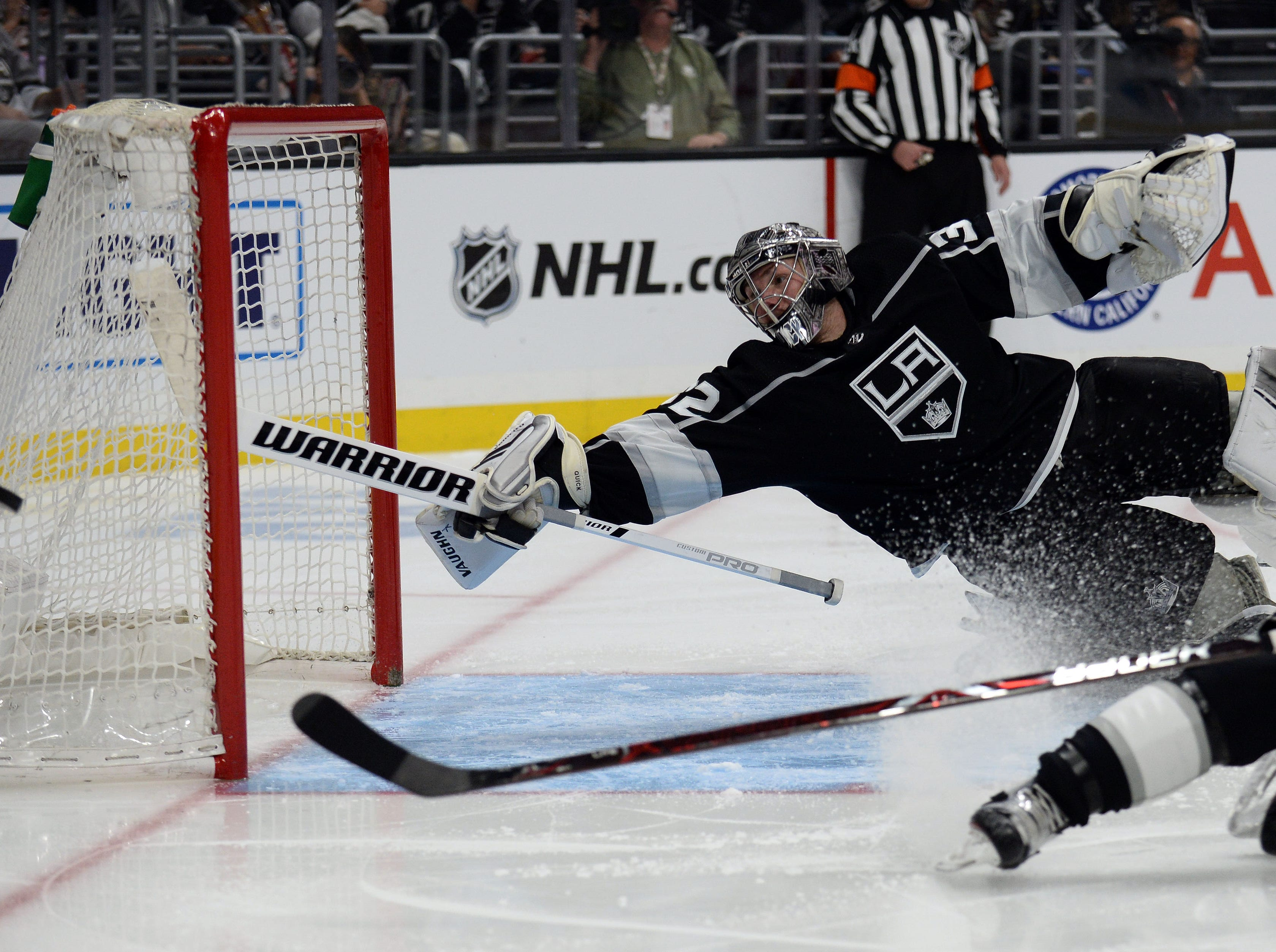 Jan. 21: Los Angeles Kings goaltender Jonathan Quick defends the goal against the St. Louis Blues as the puck goes wide of the net during the third period at Staples Center.