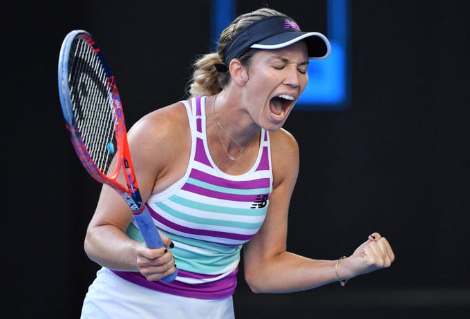 Danielle Collins of the United States reacts during her match against Anastasia Pavlyuchenkova of Russia.