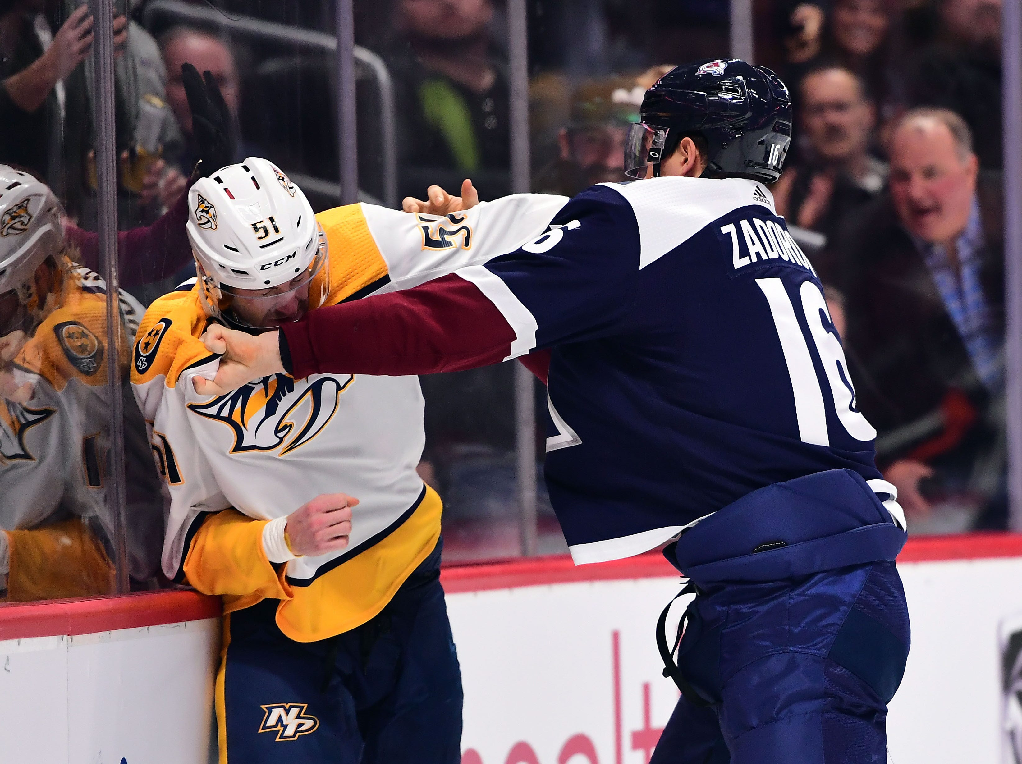 Jan. 21: Nashville Predators' Austin Watson vs. Colorado Avalanche's Nikita Zadorov.
