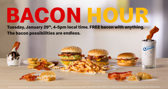McDonald's is hosting Bacon Hour Jan. 29.