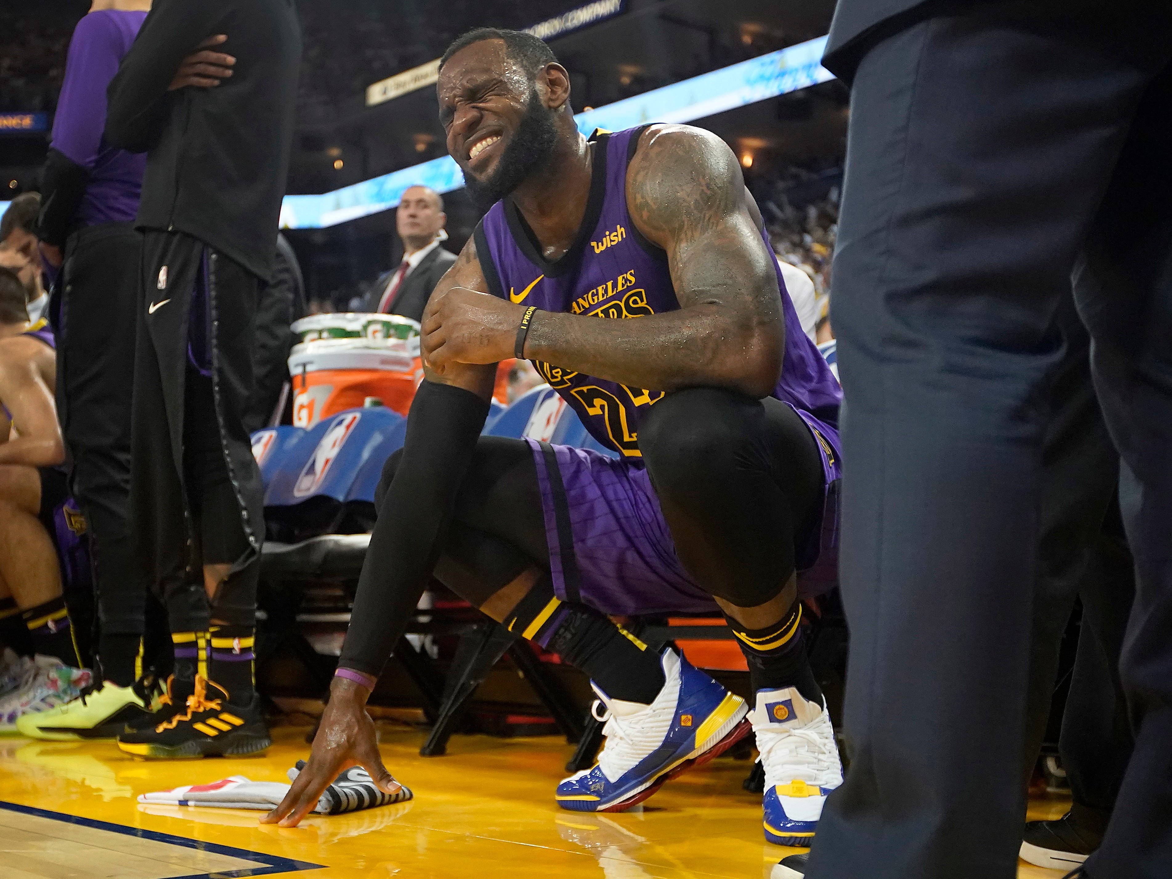 Dec. 25, 2018: The Lakers' marquee Christmas Day matchup against the Warriors was spoiled when LeBron James suffered a strained groin. James exited early in the third quarter, but Los Angeles overcame his absence for a 127-101 win.